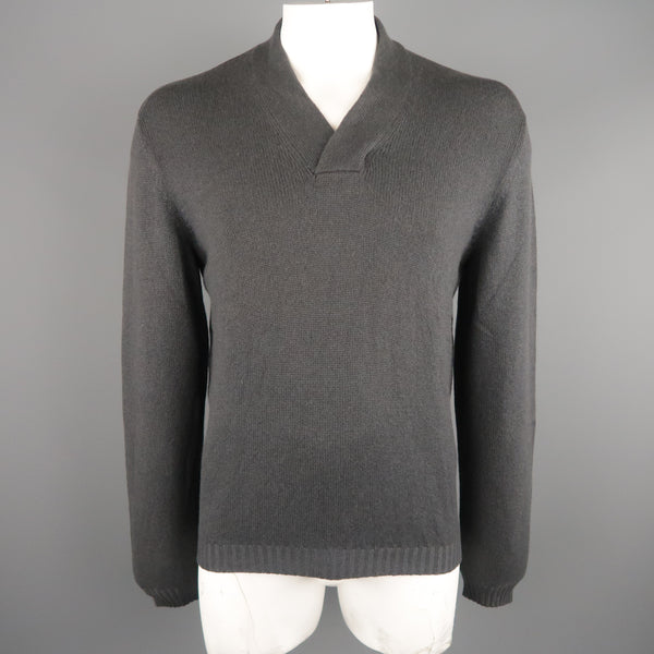 GIANNI VERSACE Size M Charcoal Cashmere Pullover Sweater