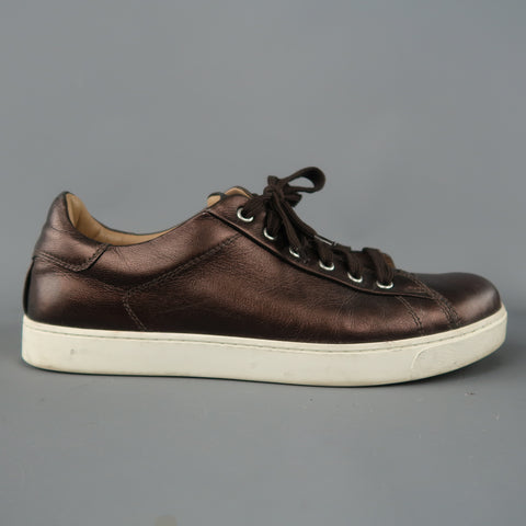GIANVITO ROSSI Size 8 Brown Metallic Leather Lace Up Low Top Sneakers