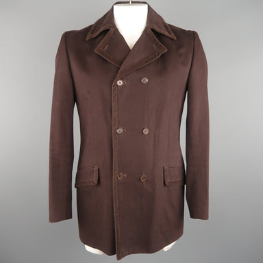 GIGLI 40 Brown Solid Cotton Corduroy  Coat