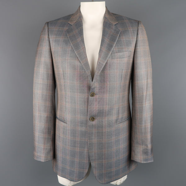 GIORGIO ARMANI 42 Long Grey & Orange Window Pane Wool / Silk Sport Coat