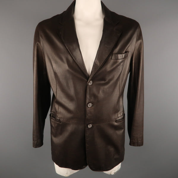 GIORGIO ARMANI 44 Brown Leather Notch Lapel  Coat