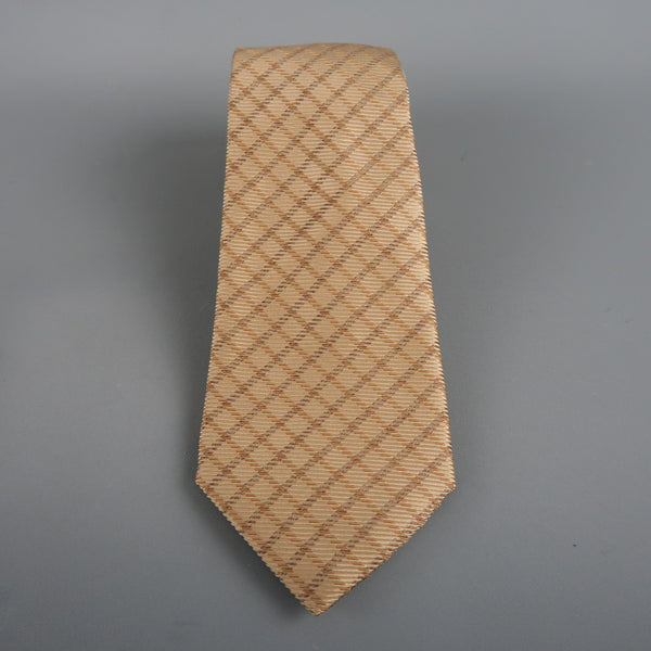 GIORGIO ARMANI Gold Silk Red All Over Striped Tie
