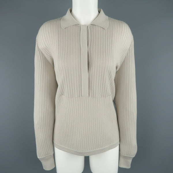 GIORGIO ARMANI Size 10 Light Gray Ribbed Cashmere Collared Pullover