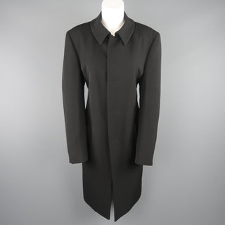 GIORGIO ARMANI Size 12 Black Wool Collared Hidden Placket Snap Car Coat - Sui Generis Designer Consignment