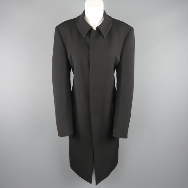 GIORGIO ARMANI Size 12 Black Wool Collared Hidden Placket Snap Car Coat