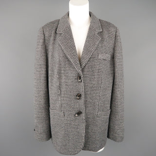 GIORGIO ARMANI Size 16 Grey Textured Wool Blend Notch Lapel Jacket