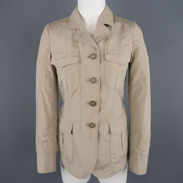 GIORGIO ARMANI Size 2 Khaki Silk Blend Safari Jacket
