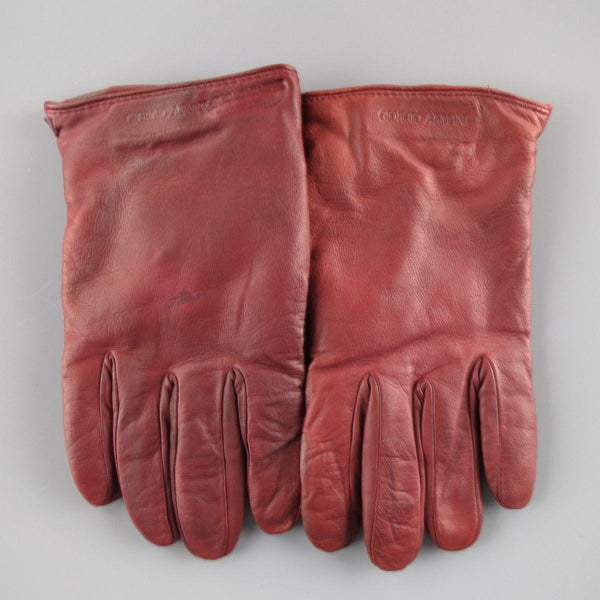 GIORGIO ARMANI Size M Burgundy Lamb Skin Leather Gloves - Sui Generis Designer Consignment
