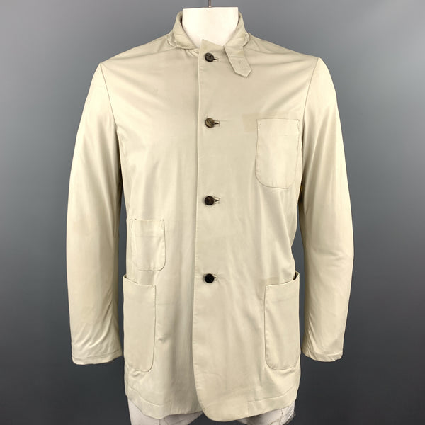 GIORGIO BRATO 42 Ivory Soft Leather Patch Pocket Tab Collar Jacket