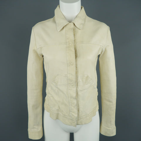 GIORGIO BRATO Size 4 Distressed Cream Leather Collared Jacket