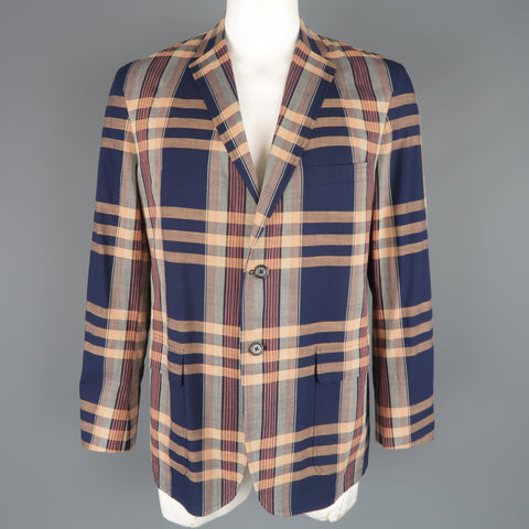 GITMAN BROS 44 Navy & Peach Plaid Cotton Notch Lapel Sport Coat - Sui Generis Designer Consignment