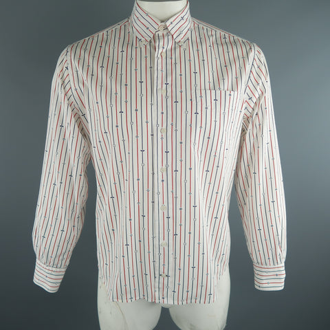 GITMAN VINTAGE Size L White Stripe Cotton Long Sleeve Shirt