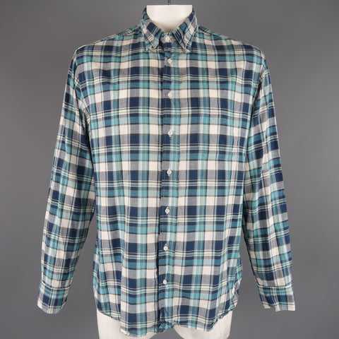 GITMAN VINTAGE Size XL Aqua Blue Plaid Cotton Long Sleeve Button Down Shirt - Sui Generis Designer Consignment