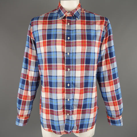 GITMAN VINTAGE Size XL Red White & Blue Plaid Cotton Long Sleeve Shirt - Sui Generis Designer Consignment