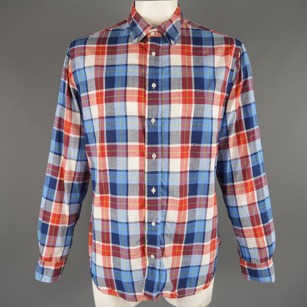 GITMAN VINTAGE Size XL Red White & Blue Plaid Cotton Long Sleeve Shirt