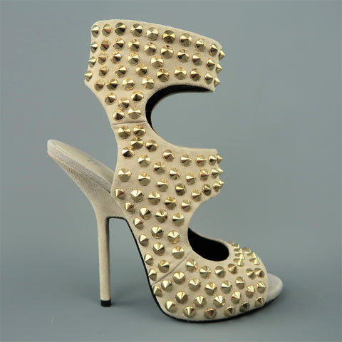 GIUSEPPE ZANOTTI Size 9 Beige Gold Spike Studded Suede Sandals - Sui Generis Designer Consignment