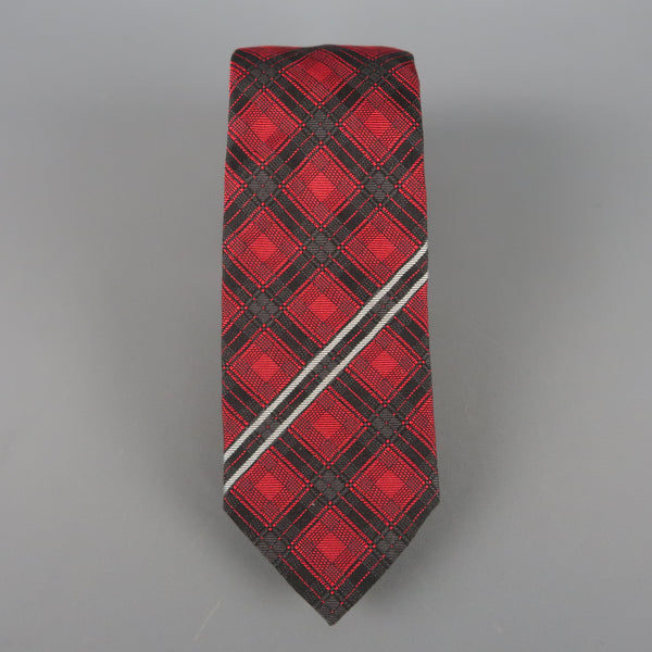 GIVENCHY Red & Black Plaid Striped Silk Neck Tie