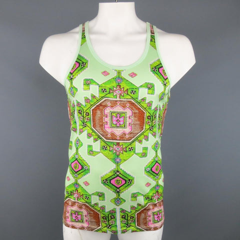 GIVENCHY Resort 2016 Size S Mint Green Aztec Carpet Print Cotton Tank Top