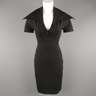 GIVENCHY Size S Black Jersey Wide Collared Polo Sheath Dress