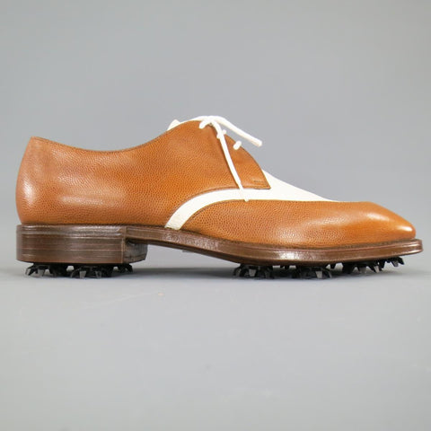 GRAVATI Size 8.5 Tan & White Leather Two Tone Lace Up Golf Shoes