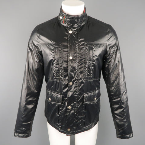 GUCCI 36 Black Shiny High Collar Puff Jacket