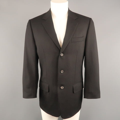 GUCCI 36 Black Solid Wool / Mohair Glenplaid Textured Sport Coat