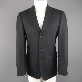 GUCCI 36 Navy Woven Wool / Mohair Notch Lapel Sport Coat