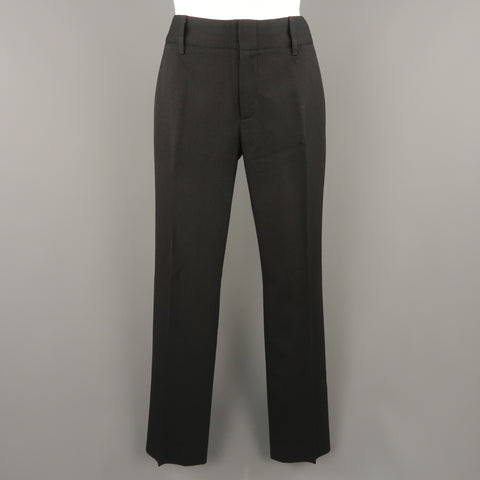 GUCCI Size 2 Black Striped Wool Blend Straight Leg Dress Pants