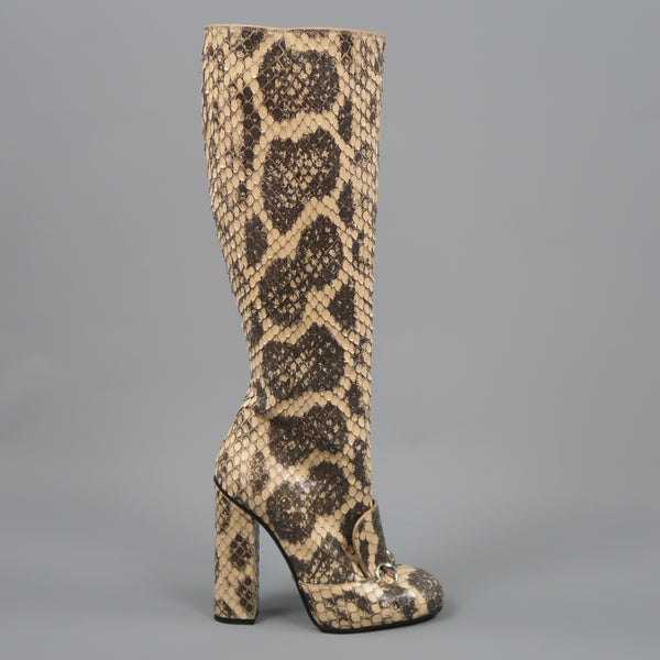 GUCCI Size 7.5 Beige Python Snakeskin Leather Horsebit Knee High Boots