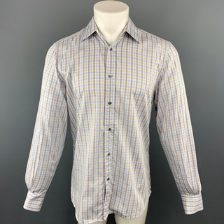 GUCCI Size M Blue & Brown Plaid Cotton Button Up Long Sleeve Shirt