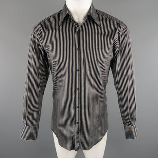 GUCCI Size S Black & Grey Stripe Cotton Long Sleeve Fitted Shirt