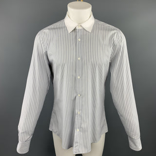 GUCCI Size XL White & Black Stripe Cotton Button Up Long Sleeve Shirt