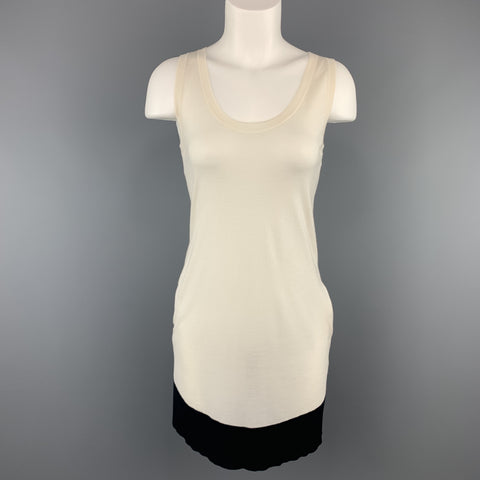 GUCCI Size XS CReam & Black Silk Blend Knit Tank Dress