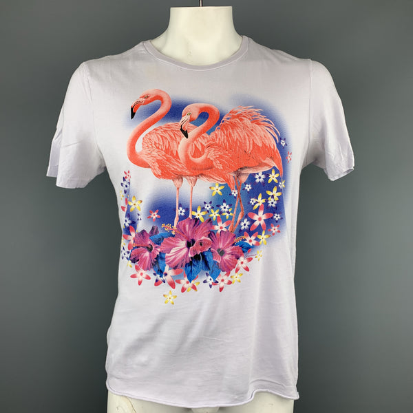 GUCCI Size XXL Powder Blue Flamingos SS 2009 Cotton Crew-Neck T-shirt