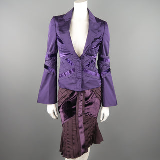 GUCCI by TOM FORD 4 Purple Silk Velvet Panel 2004 Final Collection Skirt Suit
