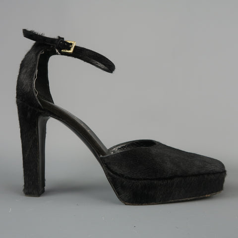 GUCCI by TOM FORD Size 5.5 Black Pony Hair Platform Ankle Strap Pumps