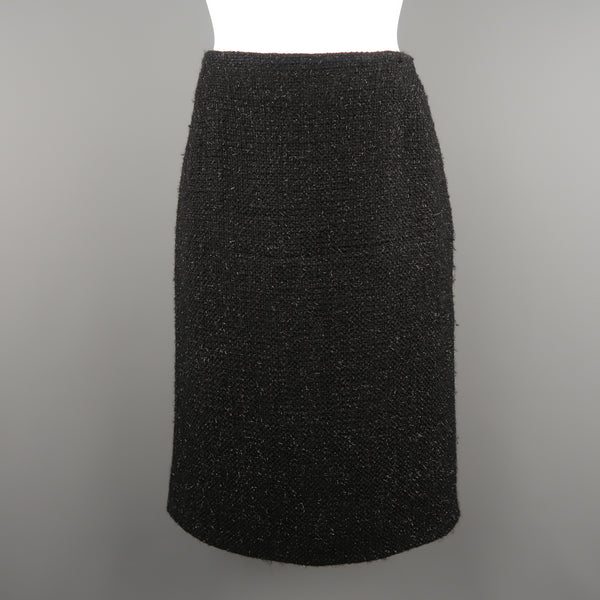 GUNEX BERGDORF GOODMAN Size 8 Black Metallic Tweed A Line Skirt