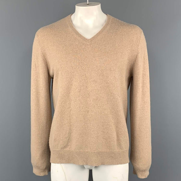 HARRISON Size L Beige Solid Cashmere Sweater