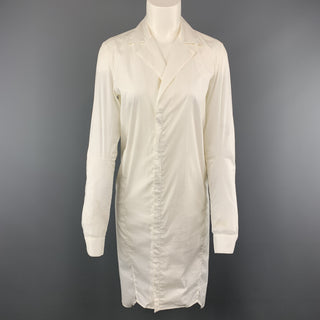 HELMUT LANG Size 4 White Lapel Shirt Dress