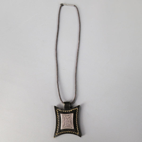 HERMES Brown Leather Engraved Silver Metal 2003 Necklace