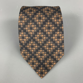 HERMES Checkered  Black & Brown Silk Tie