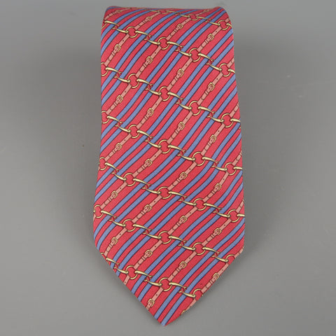 HERMES Red & Blue Diagonal Belt Stripe Print Silk Tie