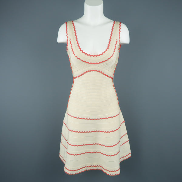 HERVE LEGER Size M Beige & Coral Scalloped Bandage Hanah Dress