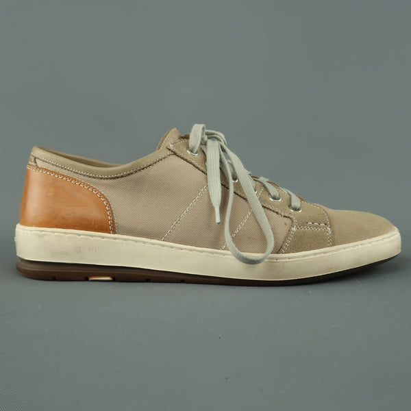 HESCHUNG Size 8 Taupe Suede & Canvas Low Top Sneakers