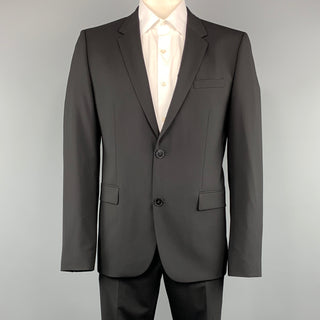 HUGO BOSS 44 Regular Black Solid Wool 36 x 32 Notch Lapel  Suit