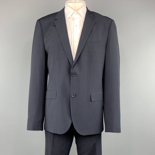 HUGO BOSS 44 Regular Navy Stripe Wool / Elastane 36 x 32 Notch Lapel  Suit