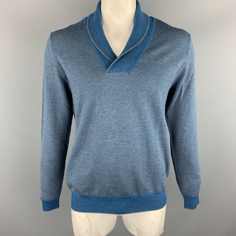 HUGO BOSS Size XL Blue & Grey Knitted Merino Wool Shawl Collar Pullover Sweater