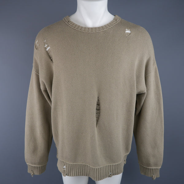 ISABEL BENENATO Size L Beige Distressed Destroyed Cotton Pullover Sweater