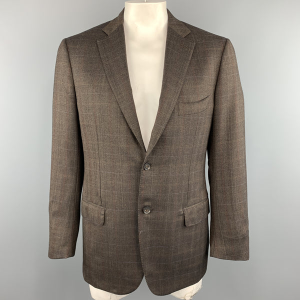 ISAIA US 42 / IT 52  Brown Plaid Wool Sport Coat