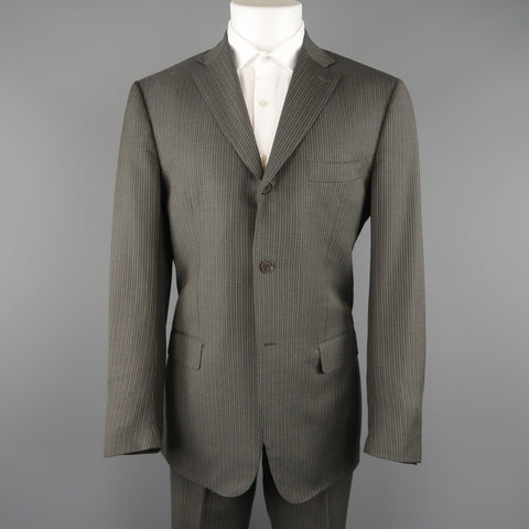 ISAIA 42 Regular Gray & Gold Pinstripe Wool 3 Button Notch Lapel  Suit